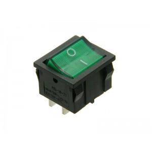 WŁĄCZNIK podśw.250V,4p.kwadratowy,zielony