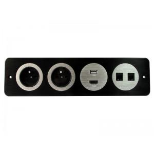 LISTWA MULTIMEDIALNA  2x230V, HDMI, USB, RJ45, RJ11,  czarna