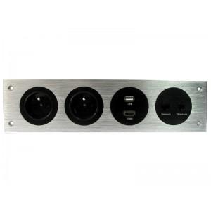 LISTWA MULTIMEDIALNA  2x230V, HDMI, USB, RJ45, RJ11,  srebrna
