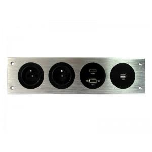 LISTWA MULTIMEDIALNA  2x230V, HDMI, VGA, USB,  srebrna