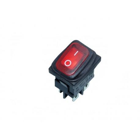 WŁĄCZNIK podśw.230V,4p. mały, czerwony, hermetyczny
