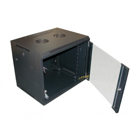 """SZAFA 19""""  9U wisząca, 600x450  czarna, drzwi szklane"""