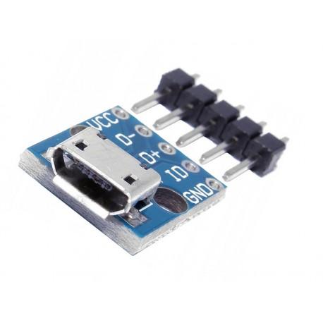 GNIAZDO USB micro montazowe z płytką drukowaną  5 pin